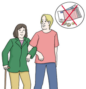 Ein junger Mann hilft ehrenamtlich einer älteren Frau