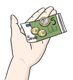 Ein Hand hält Münzen und einem Geldschein