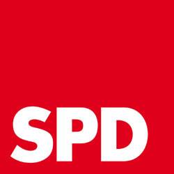 Ein rotes Quadrat auf dem mit weißer Schrift die Buchstaben S P D stehen