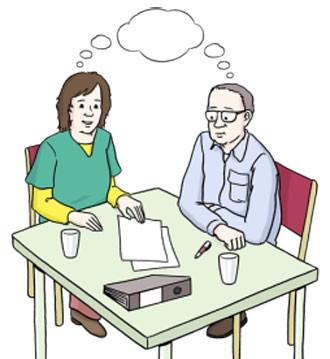 Eine Frau und ein Mann sitzen an einem Tisch und denken gemeinsam nach