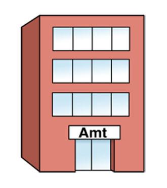 Ein Gebäude - über dem Eingang steht Amt