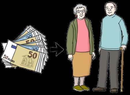 Geldscheine und ein Pfeil, der auf eine alte Frau und einen alten Mann zeigt