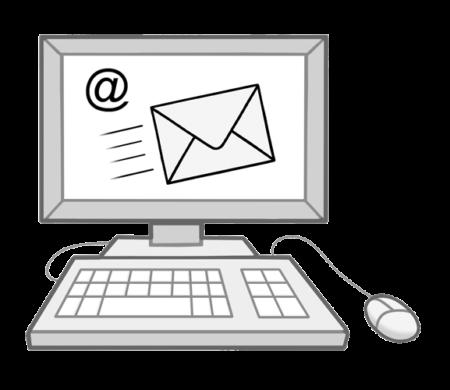 Ein Computer mit einem Briefumschlag und einem @-Zeichen auf dem Bildschirm