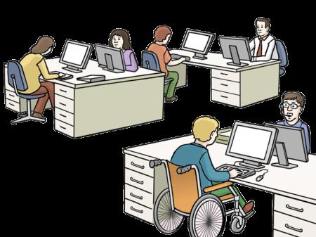 6 Personen arbeiten an Computern