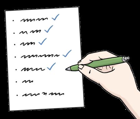 Eine Liste, die eine Hand mit einem grünen Stift abhakt