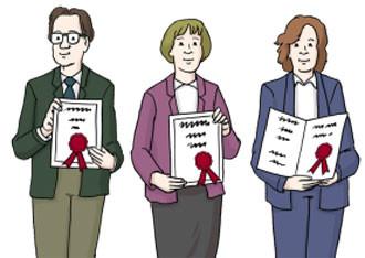 Drei Personen mit Diplom