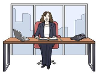 Geschäftsführerin am Schreibtisch