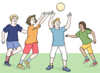 Personen spielen zusammen mit einem Ball