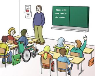 Kiner mit Lehrer in einer Schulklasse