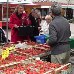 Kerstin Tack beim Verteilen ihrer roten Karten auf dem Wochenmarkt im Roderbruch